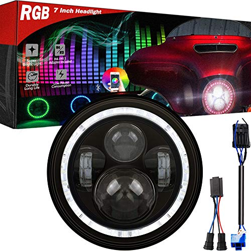 """RGB Halo 7"""" Round Harley headlamp, LED Headlight for Harley Davidson Motorcycles, Cellphone APP Controlled Muticolor RGB Angel Eye, Fit Road King, Street Glide, Fatboy, Soft tail (Not for JEEP)"""