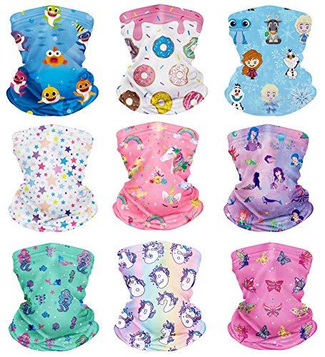 CIKIShield 9Pcs Children Adjustable Neck Gaiter Bandanas Kids Face Mask Scarf Balaclavas Wind UV Protection White/Pink/Blue