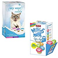 MY STAR MILKY CUPS 25 x 15g cat treats in this convenient mixed pack is a great way to treat all adult cats that enjoy the finer things in life. These little snacks come as individual servings and you can let your cat drink it straight out of the lit...