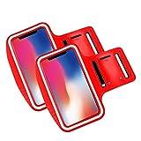 Brazalete movil Running Pack 2 uds Compatible con Todos los telefonos moviles de hasta 6.8' Pantalla Funda movil para Correr Brazalete Deportivo movil Porta movil Running Rojo