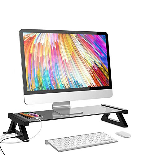 XDDXIAO Computer Screen Riser, Laptop Monitor Stand Riser with Tempered Glass Tabletop and Strong Aluminum Alloy Frame, for PC Home or Office Desk Desktop Riser,Black