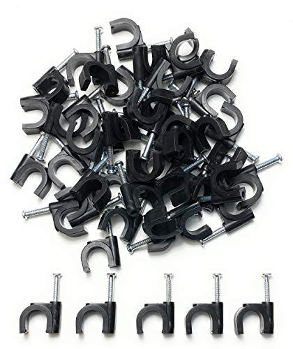 Kabelschellen Nagelschellen für Kabel 10mm, Schwarz 50 Stück