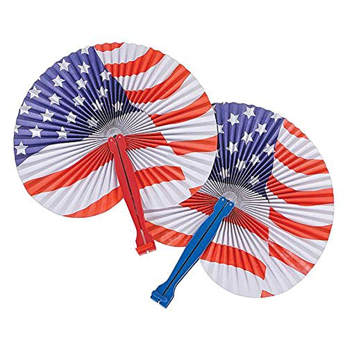 Kicko 10 Inch Folding Stars and Stripes Paper Fan - 12 Pieces Accordion Style Assortment - Perfect...