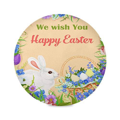 TropicalLife ADMustwin Set de table rond avec motif de lapins de Pâques, œufs de fleurs, sets de table antidérapants et lavables pour cuisine, dîner, restaurant
