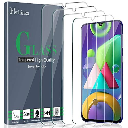 Ferilinso [4 Piezas] Protector de Pantalla para Samsung Galaxy A50, M21, M31, M30S,A30S, M31 Prime Cristal Templado Vidrio Templado, [Compatible con la Funda][2.8d Borde Redondo] [Alta Definición]