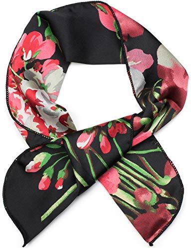 styleBREAKER Damen Multifunktionstuch schmal mit Blumen Muster, Haarband, Tuch, Halstuch, Schleife, Taschenband 04026025, Farbe:Schwarz