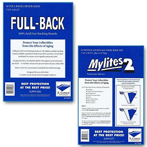 Full-Backs 'Silver & Golden Age' 42-Mil Backing Boards & Mylites 2 'Silver & Golden Age' 2-Mil Comic Book Mylar Sleeves - 50 of Each! by E. Gerber