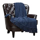 Chanasya Textured Knitted Super Soft Throw Blanket with Tassels Cozy Plush Lightweight Fluffy Woven Blanket for Bed Sofa Couch Cover Living Bed Room Acrylic Throw Blanket (50x65 Inches) Dress Blue