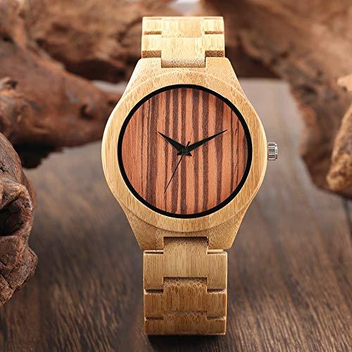 STEDMNY Holzuhr Mode Streifen Zifferblatt Bambus Holz Uhren Männlich Full Natural Holz Armreif Armbanduhr Uhr Geschenkartikel für den Menschen