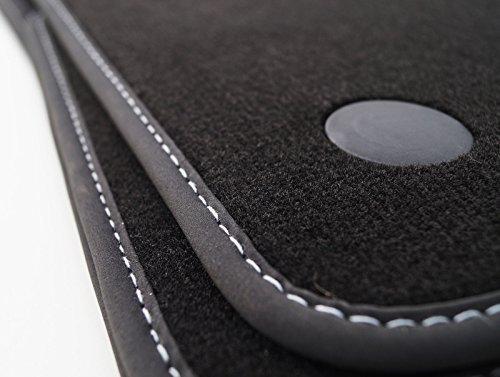 kh Teile Fußmatten/Velours Automatten Premium Qualität Stoffmatten 4-teilig schwarz Nubukleder Einfassung mit silberner Naht