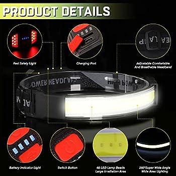 Lot de 2 lampes frontales à LED ultra claires (piles incluses) - Grand faisceau - Étanche IPX6 - 3 modes - Pour le camping, la pêche, la course à pied