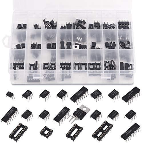 Keadic 169Pcs 21 Values Integrated Circuit Chip Assortment Kit 2 54mm IC Sockets 8 14 16 18 product image