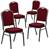 Flash Furniture 4 Pack HERCULES Series Crown Back Stacking Banquet Chair in Burgundy Fabric - Silver Vein Frame