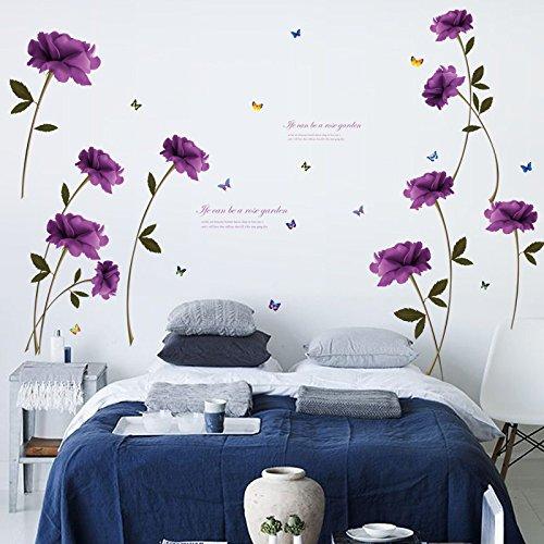 Gaoqi DIY Rosa púrpura habitación extraíble decoración del hogar Pegatinas de Pared calcomanía
