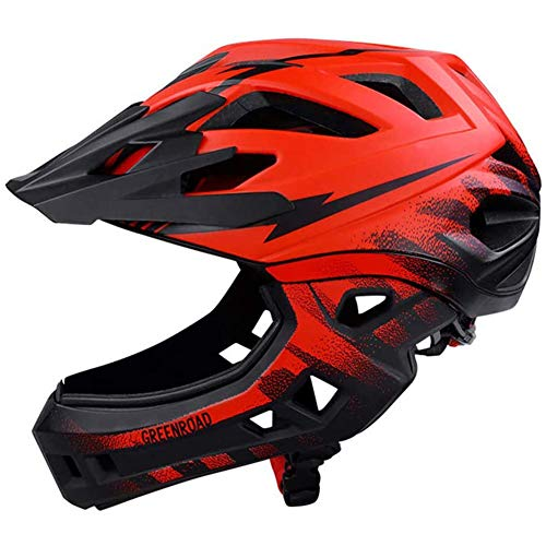Yangyang Helm Für Kinder, 18-Loch-Atmungsaktiv Abnehmbare Full Face Chin Fahrrad-Sicherheits-Schutzhelm, Für Fahrrad, Skateboard, Roller, Inlineskaten