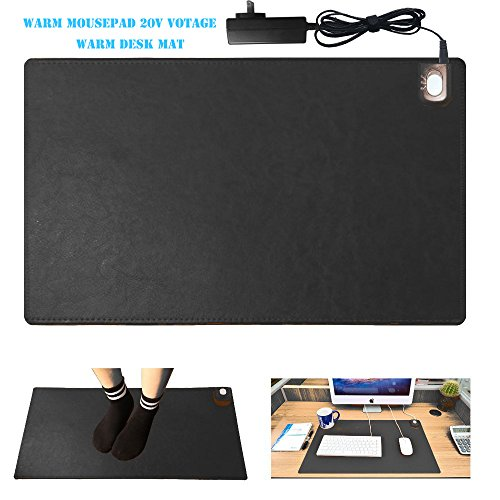 """Warm Desk Pad,kupx 20v Safe Voltage Automatic Control Warm Official Big Mouse Pad Game Mouse Pad Extended Edition Pu Gaming Mouse Mat Functional,Foot Warmer Pad Warm Desk Pad 23.6""""14""""0.12"""" Black"""
