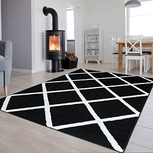 TAPISO Collection Luxury Tapis de Salon Chambre Moderne Couleur Noir Blanc Motif Carré Facile d