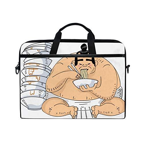 FOURFOOL 15-15.6 inch Laptop Bag,Illustration Sumo Wrestler Sitting Beside Tall,New Canvas Print Pattern Briefcase Laptop Shoulder Messenger Handbag Case Sleeve
