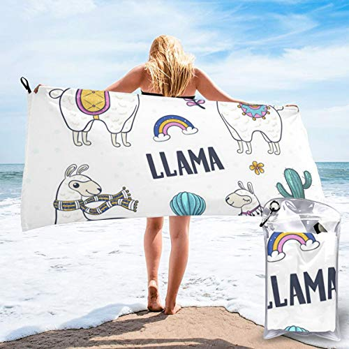 N/F Cartoon Alpaca Bath Towels Large Bath Towel Set Super Absorbent And Fast Drying For Bathroom And Beach 2 Sizes Personalized
