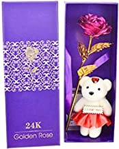 Lilone 24K Carat Gold Platted Red Rose with Cute Teddy in Decorative Box| Valentine Gifts for Girlfriend