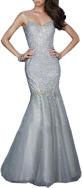 Emmani Women's Spaghetti Mermaid Crystal Beads Bling Evening Dresses