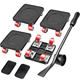 Kocuos 4 Wheels Moving Dolly with Casters, Hardwood Furniture Dolly Set with Lifter, Movers Dolly for Heavy Furniture in...