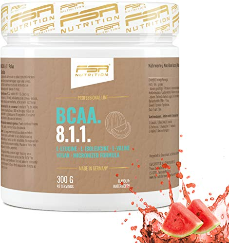 FSA Nutrition - BCAA 8:1:1 Pulver, Aminosäuren für den Muskelaufbau, Vegan - 300 g - Wassermelone