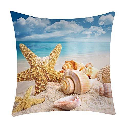 Mamum - Couverture de Coussin de Voiture de Sofa de Polyester de taie d'oreiller d'impression de mer décor à la Maison (C)