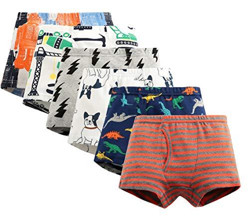 Oliked Jungen Boxershort Kids Serie Für Kinder Weiche Baumwollene Unterwäsche(Packung mit 6 Stücken) (6 Pack E, 5-6 Years)