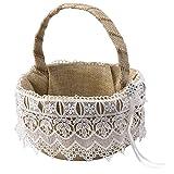 Mopec Cestita arras arpillera con puntilla y detalle de strass, Textil, Marfil,...