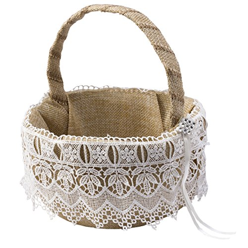 Mopec Cestita arras arpillera con puntilla y detalle de strass, Textil, Marfil, Ø15x19cm