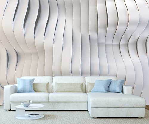 Price comparison product image StickersWall Modern 3D Effect Curvy Waves Contemporary Art Wall Mural Photo Wallpaper Picture Self Adhesive 1075 (342cm(W) x 242cm(H))