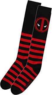 7322e1a1b Womens Deadpool Black and Red Striped Knee High Socks