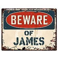 ジェームズに注意してください 金属板ブリキ看板警告サイン注意サイン表示パネル情報サイン金属安全サイン