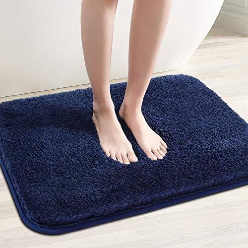 Color&Geometry rutschfeste Badematte 60 x 110 cm, Badteppich, Badvorleger, maschinenwaschbare Fußmatte Bodenmatte mit weicher Mikrofaser für Bad, Toilette, Küche, Schlafzimmer (Blau)