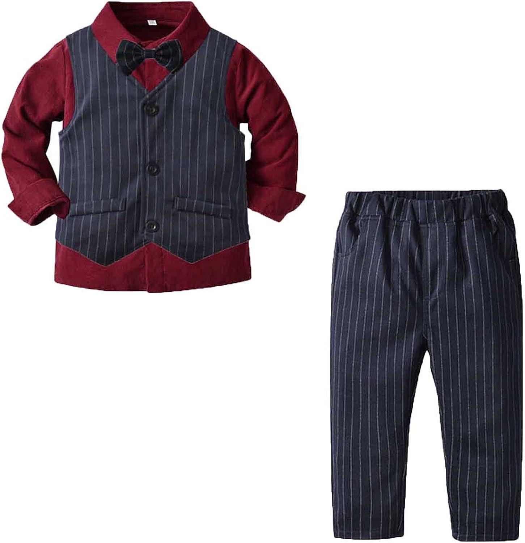 Overseas Our shop OFFers the best service parallel import regular item Formal Suit for Toddler Boys Striped Vest Bo Set Gentlemen Shirt