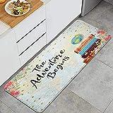 WOTAKA Alfombra de cocinaEmpieza la Aventura Maletas Florales Rojas Vintage Viajan Alrededor del Mapa del mundoAlfombras y tapetes de Cocina Impermeables Antideslizantes Gruesos, (45*120cm