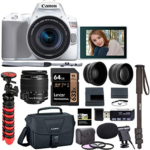 Canon EOS Rebel SL3 18-55mm is STM DSLR Camera (White) Kit, Tabletop Tripod, Lexar 64GB U3 Memory Card, Microphone, Filters, Lens Attachments and More