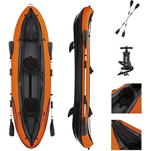 Ouumeis Kajak,330 × 94 cm,Aufblasbares Wasserboot Driftboot Fischerboot Adult Adventure Rafting Canoe,2-Personen Aufblasbare Kajak Mit Aluminiumpaddel Und Luftpumpe