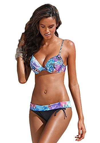 bruno banani Damen Push Up Bügel Bikini (36 (70) C, Schwarz)