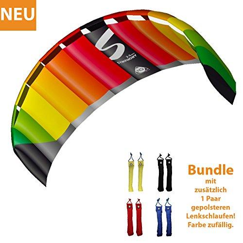 HQ Lenkdrachen Lenkmatte Drachen Symphony Pro 2.5 Rainbow Bundle Kite Drachenschnur mit gepolsterten Lenkschlaufen Zweileiner