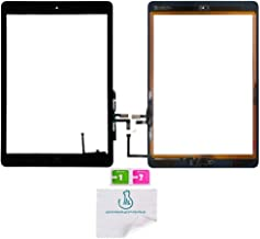 OmniRepairs Touch Screen Glass Digitizer Assembly Replacement with Home Button, Rubber Gasket and Camera Bracket Compatible for iPad Air 1st Generation with Pre-Installed Adhesive Tape (Black)