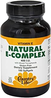 Country Life - Natural Vitamin E-Complex - 400 IU with Mixed Tocopherols - 180 Softgels