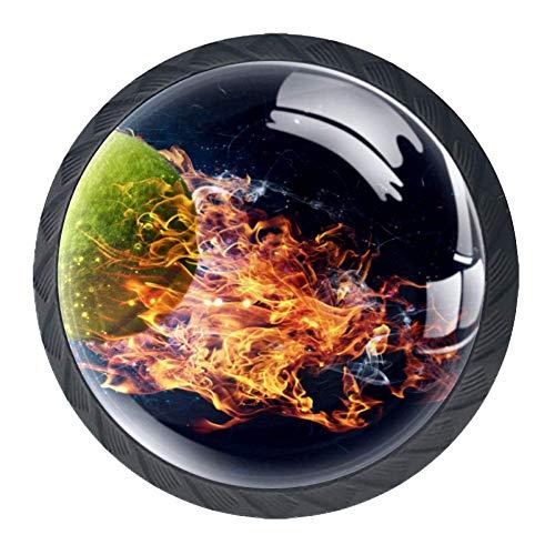 Tirador del cajón Tirador para decoraciones del hogar Perillas redondas Pelota de tenis en fuego interior con tornillos Juego de 4