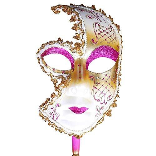 Máscara de Fiesta para Mujeres Máscaras de Venecia Máscara de Disfraces Festiva Disfraces venecianos de Navidad Carnaval Colección de Arte de Mano (Color: Rosa)