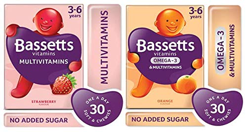 Bassetts Multivitamins Kids 3-6 Strawberry Flavour and Orange Flavour x2 Bundle