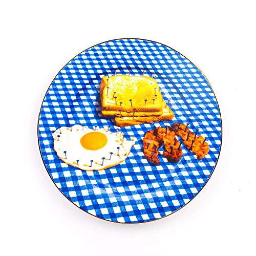 Seletti Toiletpaper Assiette plate en porcellaine avec décor petit déjeuner et bord doré