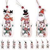 tangger 9 PCS Adornos Navideños Originales de Madera,Árbol de Navidad Colgante Decoración Adornos Colgantes Santa Claus Muñeco de Nieve Alce,Navidad Decoración Artesanía de Madera