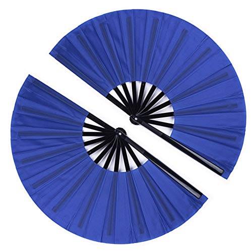 2 Pack Large Folding Hand Fan, Minelife Nylon-Cloth Vintage Retro Fabric Fans, Chinese Kung Fu Tai Chi Hand Fan for Men/Women, Festival, Dance, Gift, Performance, Decorations (Blue)
