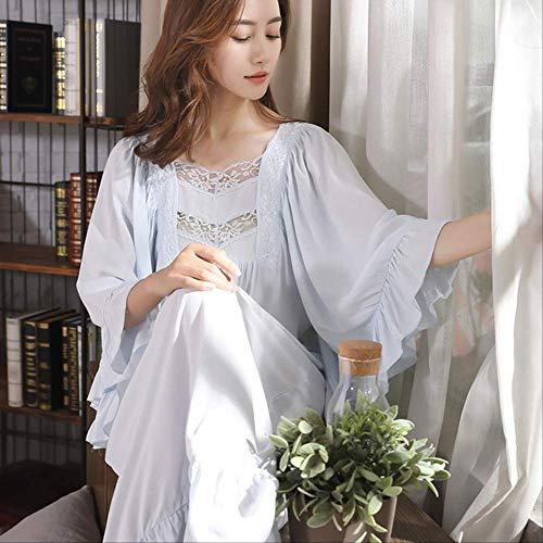 XFLOWR Batas de baño Camisón de Encaje Retro de Invierno Camisón de algodón de Manga Larga Chica Dulce Hoja de Loto Muebles para el hogar Vestido Femenino Talla única Azul Cielo